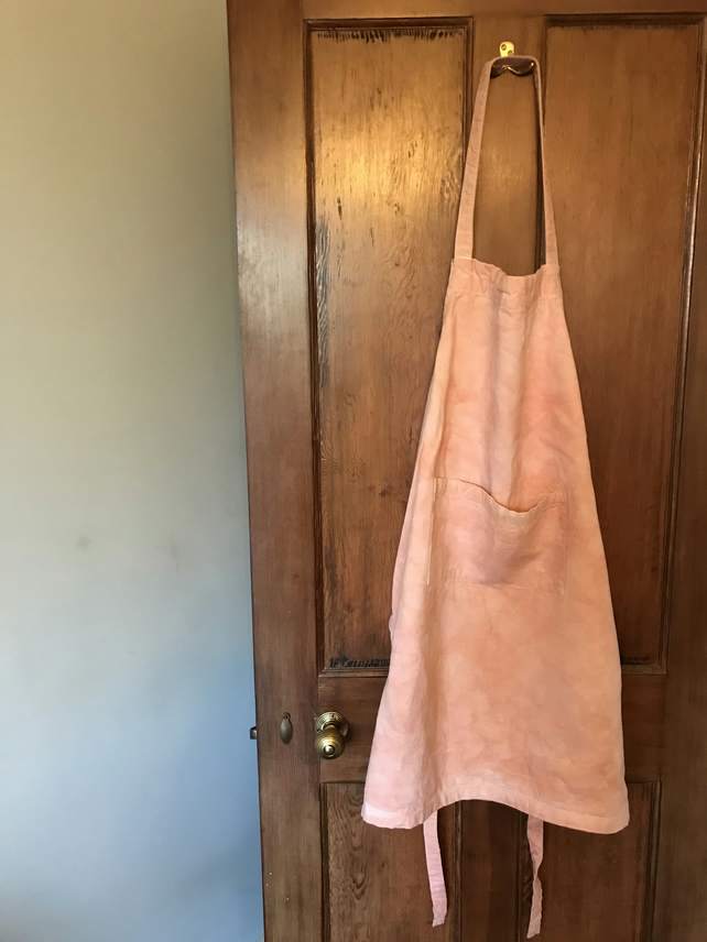 Dusky pink apron, plant dyed with madder