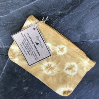 Plant dyed makeup bag using pomegranate, turmeric and iron water