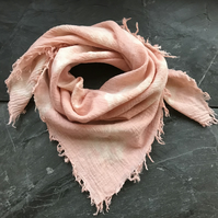 Children's pink festival scarf, plant dyed with madder