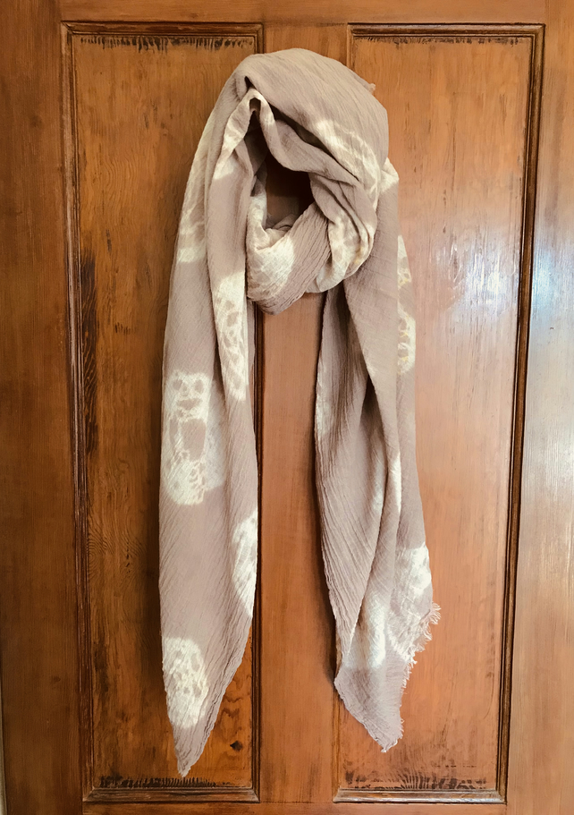 Organic cotton scarf, extra large, plant dyed with walnut shells and iron water