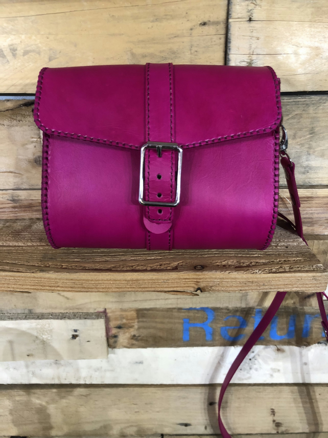 Stunning Pink Handmade Leather Handbag