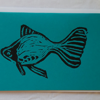 Blank Greetings Card A6 Hand Printed Linocut Goldfish card - Azure Blue