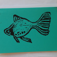 Blank Greetings Card A6 Hand Printed Linocut Goldfish card - Blue-Green