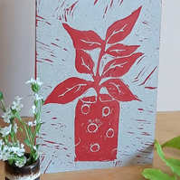 Blank Greetings Card A6 Hand Printed Linocut Red Pot Plant Free UK Postage