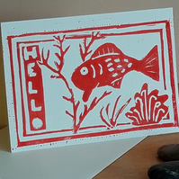 Blank HELLO Greetings Card A6 Hand Printed Linocut  Free UK Postage