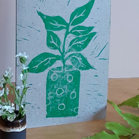 Blank Greetings Card A6 Hand Printed Linocut Green Pot Plant Free UK Postage