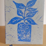 Blank Greetings Card A6 Hand Printed Linocut Blue Pot Plant Free UK Postage