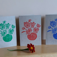 Pack of 3 Blank Greetings Cards A6 Hand Printed Linocut in Red Green & Blue