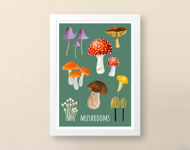 Mushrooms Art Print, Wall Art Print, Unframed Art Print, Giclee Print