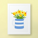 Daffodils in a Cornishware Jug, Wall Art Print, Unframed Art Print