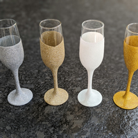 Hand Decorated Colourful Champagne Glitter Glasses
