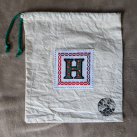 Monogram Initial Cross stitch kit bag