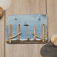 Pebble Seagull and seaglass boat palletwood plaque picture