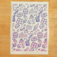 Sweet Treats - A3 duo colour risograph print