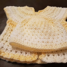 Hand Made Baby Crochet Baby Set Jacket and Hat size 0-3 months