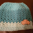 Icy Blue Crochet Messy Bun Hat with Camper Van motif
