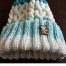 Hand Knitted Blue Mix Adult Floppy Top Hat with Faux Fur Pom Pom and Wooden Cat