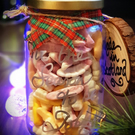 Personalised Sweet Jar Gift with Christmas decoration, Hand Crafted in Scotland