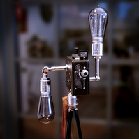 Upcycled Rare Vintage 1920s Kodak Cine Camera Chrome Edison Tripod Lamp