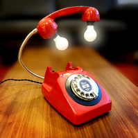 Upcycled Retro Vintage GPO 1960s Rotary Telephone Lamp Red and Black