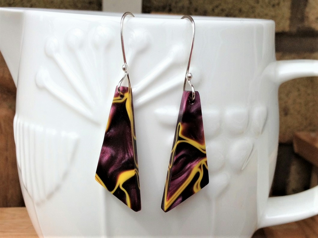 Triangular Purple & Yellow Kirinite Dangle Earrings. Sterling Silver Ear Wires