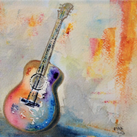 Original Watercolour of a Guitar. Mounted on Acid Free Mount Board in Ivory