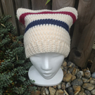 Cream Hat with Blue and Red Detail