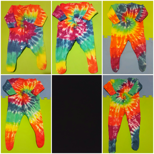 Rainbow Babygrows Bright Tie dyed Newborn to 24 months