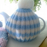 Tea Cosy - Blue and White Stripped with Bobble