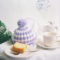 Small Tea Cosy - Purple and White Stripped