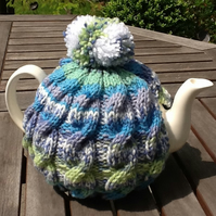 Blue Tweed Tea Cosy - Traditional Cable fits 4 to 6 cup pot