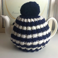 Navy and White Tea Cosy fits 4-6 cup pot