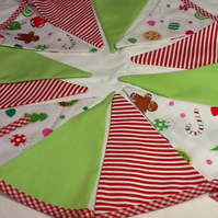 Christmas Bunting - 12 flags including Sweets, candy stripes and Gingerbread Men