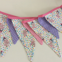 Fairy princess bunting - 9 flags 7ft with ties.