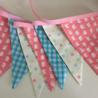 Nursery Bunting - Pink elephants and dots design, 12 flags 8ft long