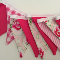 Pink Bunting - 11 small flags, spring decoration, great for bedrooms