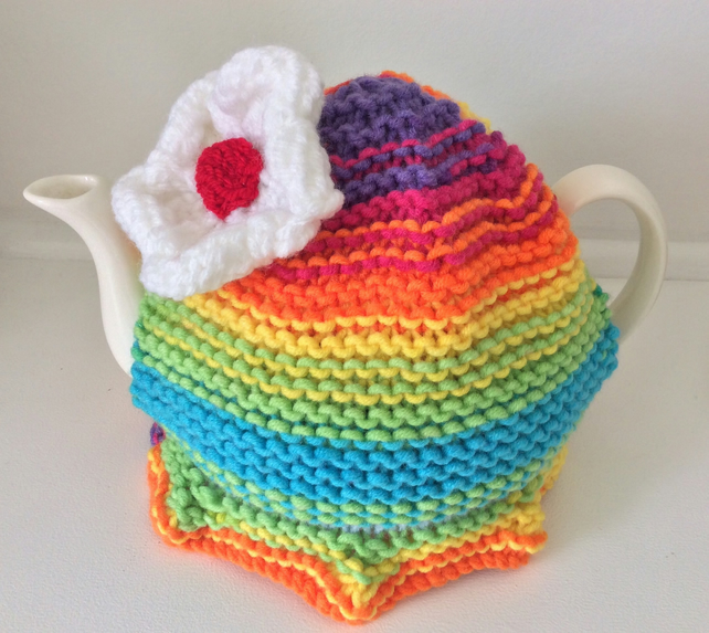 Rainbow Tea Cosy - Daisy design 6 cup pot