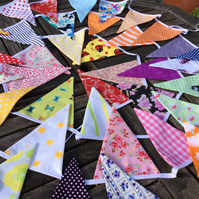 Bunting - boho mixed colour collection - 48 flags 10.5m including ties