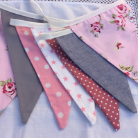 Pink and Grey Bunting - 12 flags in a mix of pretty fabrics, 2m with ties