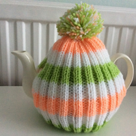 Peach and lime striped Tea Cosy - fits up to a 6 cup pot