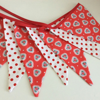 Valentine's Bunting - 11 flags 8ft long, Cath Kidston heart fabric and spots