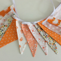 Peach and orange Bunting - 12flags, birthday party deco, Playroom bunting