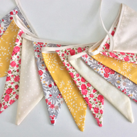 Grey, yellow, red Bunting - 12flags, birthday party deco, Playroom bunting