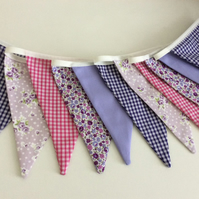 Purple Bunting - 11 flags in mixture of lavender, purple and pink