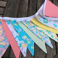 Bunting with Spring Pastels and florals, Fabric Garland, Wedding Bunting,