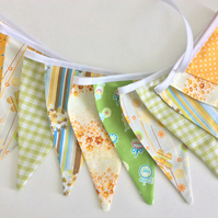Yellow and lime green Bunting - 11 flags, spots, floral and patterns
