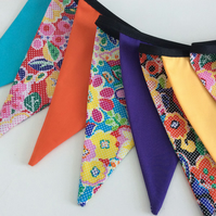 Bunting - Retro Flower Power - 12 flags super bright colours