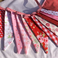 Pink and red Bunting - 12 flags, spots, floral and patterns 2.4m with ties