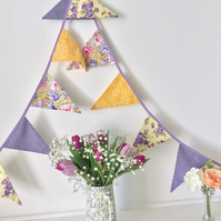 Purple floral Bunting - 12 flags in mixture of lavender purple and yellow