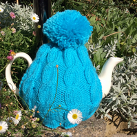 Traditional Blue Cable Knitted Tea Cosy - 4 to 6 cup pot